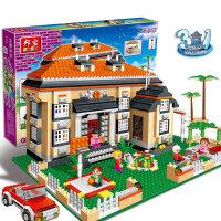 【小颗粒邦宝创意积木益智玩具女孩别墅房子3合1莱茵小筑8369