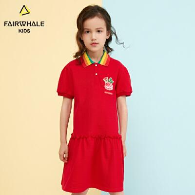 【2件3折折后到手价95.4】马克华菲童装女童连衣裙2019春夏新款儿童红色纯棉裙子卡通印花潮