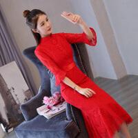 2018新款敬酒服回门服新娘秋冬季韩版长袖结婚旗袍改良红色连衣裙 红色