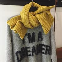 韩版冬季毛线围巾女短款小围巾加厚纯色毛线针织chic日系围脖学生