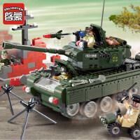 启蒙积木快乐高男孩子军事模型坦克战车人仔6拼装7益智力玩具10岁