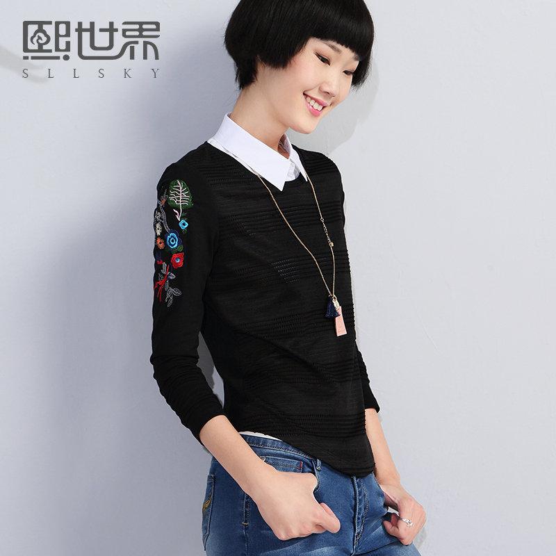 熙世界新款纯色圆领刺绣长袖镂空针织T恤女装193LT056