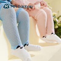 迷你巴拉巴拉婴儿全棉网眼袜2021夏款透气轻薄高弹过膝长袜3双装