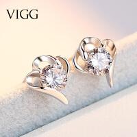 925纯银爱心形冬款耳环超仙 气质个性创意百搭耳钉女耳饰