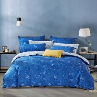 LOVO家纺 全棉纯棉四件套 简约北欧被套床单 1.2/1.5/1.8米床 海阔星辰