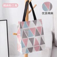 布袋子手提包 手提袋购物袋手拎饭盒便当包女折叠便携防水装书帆布袋子DX型L 粉色三角 纵向大号