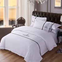 酒店床上用品纯棉白色床单专用被套被子全棉民宿五星级宾馆四件套 绣字