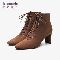 莱尔斯丹 明星古力娜扎同款秋冬时尚通勤高跟方头系带马丁靴短靴女靴LS AT75101