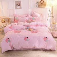 【官方旗舰店】纯棉粉色磨毛四件套全棉加厚保暖草莓被套床单1.5m床笠床上用品女