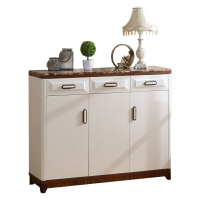 鞋柜烤漆仿大理石面欧式鞋柜简易现代实木腿门厅柜白玄关柜储物柜 组装