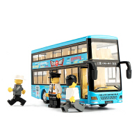 卡通双层公交车玩具公共汽车模型儿童玩具车巴士男孩合金仿真大号