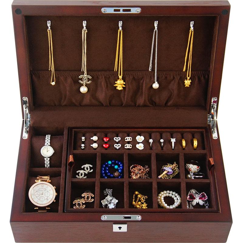 首饰盒子木质双层收纳饰品盒手表收纳实木贴皮带锁简约珠宝