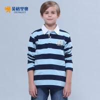 2018春装新款男童长袖纯棉T恤中大童儿童体恤条纹翻领POLO打底衫