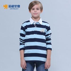 2018秋装新款男童长袖纯棉T恤中大童儿童体恤条纹翻领POLO打底衫