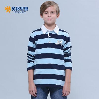 2018春装新款男童长袖纯棉T恤中大童儿童体恤条纹翻领POLO打底衫书香节返场 全场每满200减100