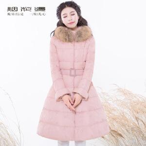 烟花烫2018冬装新款女装气质腰带毛领绣花中长羽绒服 情迢迢
