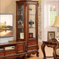 欧式美式家具客厅单门酒柜双门展示柜子储物柜玻璃隔断柜实木 单门