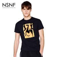 NSNF纯棉植绒涂鸦圆领修身男款短袖T恤 黑色 2017新款 设计师潮流男装 修身圆领针织短袖