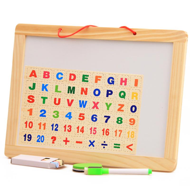 儿童双面白板画板 挂式写字板益智学习绘画磁性小黑板玩具1-3-6岁 可挂式 双面可用 白板有保护膜使用前要撕去