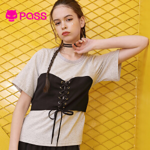 PASS日系潮牌2018新款夏装抹胸拼接t恤女宽松圆领收腰带短袖上衣