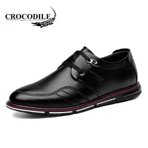 鳄鱼恤休闲鞋百搭商务休闲皮鞋系带低帮鞋舒适男鞋