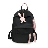 尼龙双肩包女韩版小清新学院风学生书包时尚休闲旅行背包 黑色 8189