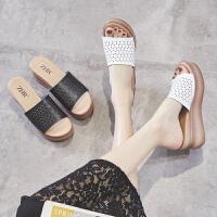 ZHR拖鞋女外穿2019新款夏季时尚百搭厚底松糕坡跟女鞋网红凉拖女