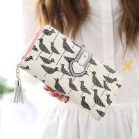 钱包女长款女士钱包韩版搭扣手拿包流苏女式手包卡通钱夹钱包