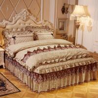 欧式天鹅绒夹棉床裙四件套加厚保暖短毛珊瑚绒床罩式床单被套床品 驼色 梦醉奢华 2.0*2.2米床四件套 2.2*2.4