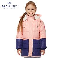 派克兰帝童装 女童中长款拼色羽绒服儿童冬装