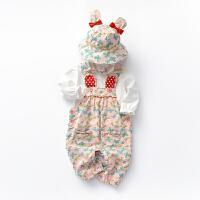 【3折到手价:69】59CM-90CM 罗町春季新品背带套装女童韩版可爱印花背带裤三件套0-1-3岁婴儿服