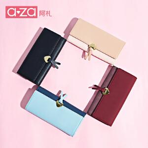 aza阿札2017新款钱包女长款卡包个性百搭横款折叠时尚钱夹9139
