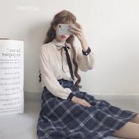 春装新款女装韩版学生呢格子A字裙高腰显瘦不规则中长裙半身裙子 藏青 均码