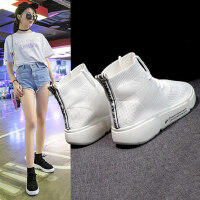 新款弹力布运动鞋女 街拍高帮休闲鞋女时尚透气白色袜子鞋 韩版女平底跑步鞋