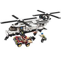 男孩拼装积木玩具拼插直升机运输战机模型男童6-8-12岁10生日礼物