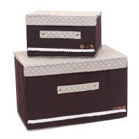 优芬彩色大小两件套扣扣收纳箱日式收纳盒无纺布储物箱 咖啡色
