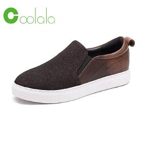 红蜻蜓Coolala女鞋 2017新款正品舒适拼色休闲乐福鞋女单鞋板鞋子