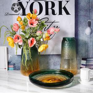 玻璃花瓶田园冰裂摹刻花纹渐变透明水培插花器家居工艺摆件