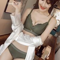 性感舒适文胸套装光面运动型胸罩聚拢内衣少女中厚条纹光面