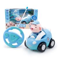 儿童电动玩具抖音海草猪电动远程遥控汽车带灯光特技旋转儿童玩具车