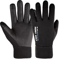 触屏手套男冬季保暖加绒户外运动防风防滑骑行跑步开车薄款手套男 均码
