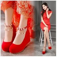 孕妇结婚鞋女2018春秋新款中式旗袍新娘鞋子高跟坡跟敬酒秀禾服鞋