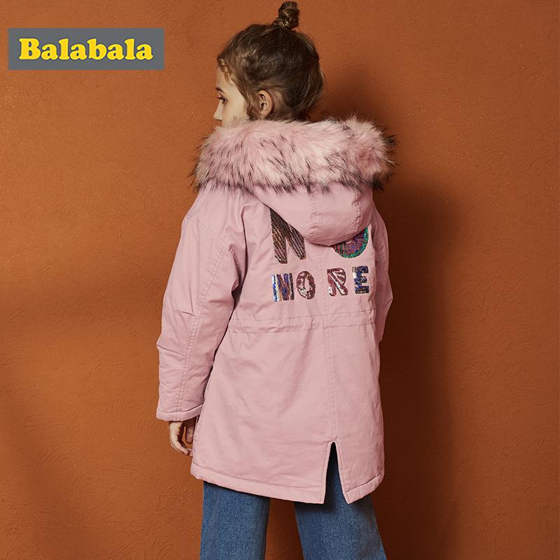 【2件5折价:159.95】巴拉巴拉童装儿童棉衣女童棉服2019新款秋冬中大童中长款夹克外套
