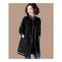 大码中长款刺绣加厚毛呢外套女冬装棒球服宽松呢子大衣 黑色