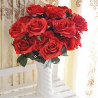 玫瑰花 仿真花仿真花卉欧式10头玫瑰大玫瑰绢花Q 1束