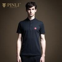 PINLI品立2020夏季新款男�b�C花短袖Polo衫T恤上衣�w恤B202612258