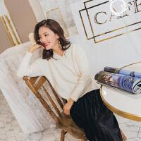针织衫女2017秋季新款女装韩版纯色V领修身长袖短款针织打底衫时尚百搭毛衣