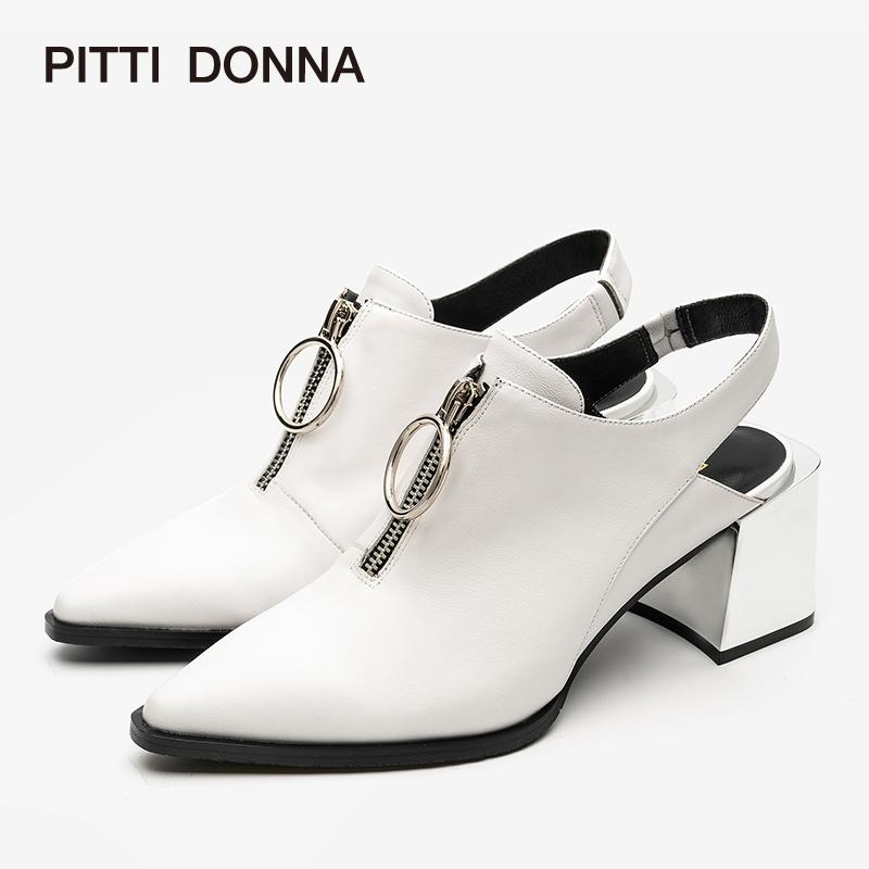 【到手参考价:199】PITTI DONNA夏季尖头粗跟高跟包头女凉鞋 9M55702 尖头 粗跟 高跟 包头 凉鞋