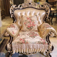 君别雪尼尔沙发垫高档奢华防滑提花客厅欧式沙发坐垫套加厚绿色布艺