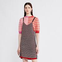 【仅限12.8一天 比双12更优惠 到手价:600元】DAZZLE地素 18春专柜新款 撞色拼接设计针织吊带连衣裙 2